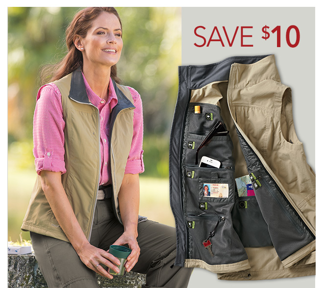 Outfitted For Adventure: ExOfficio® FlyQ Lite Vests for Him & Her - Save $10 | Women's Vests | Travel Clothing | Travelsmith